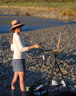 Shirl painting along the Lamar River