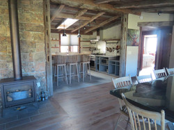 Guest Lodge - Dining and Kitchen - with a fire for ambiance if you'd like!
