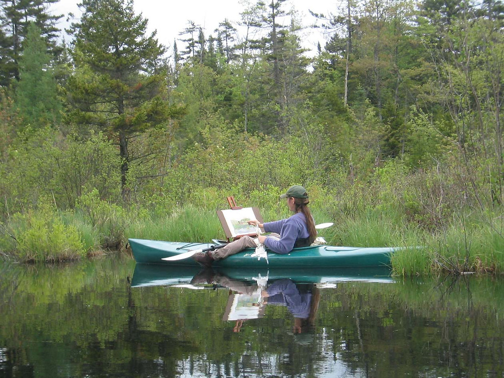 Kayak plein air painting