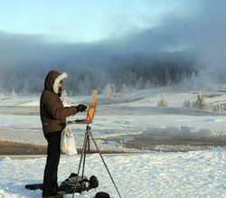 Shirl painting geysers in winter