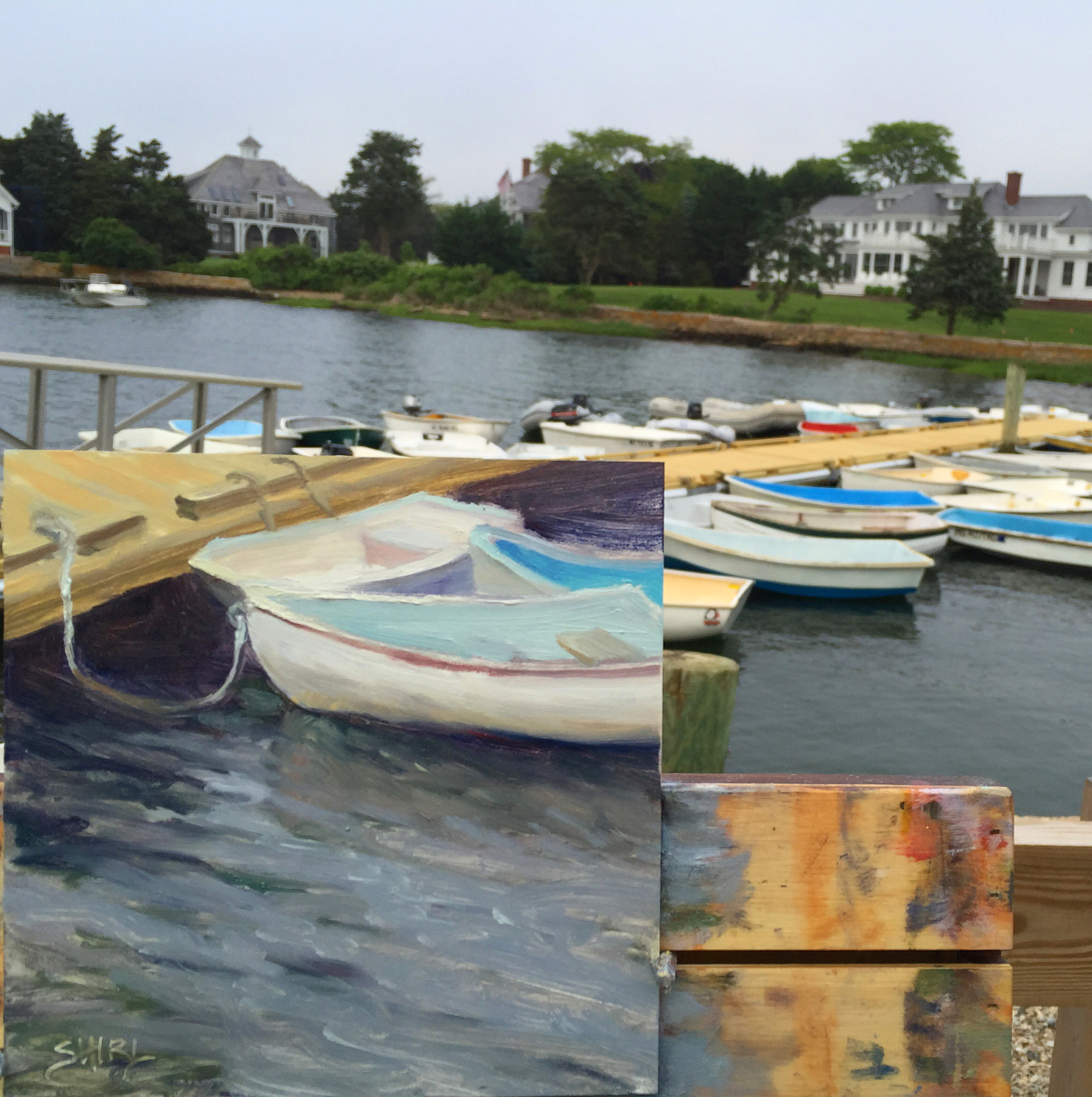 painting falmouth boats plein air