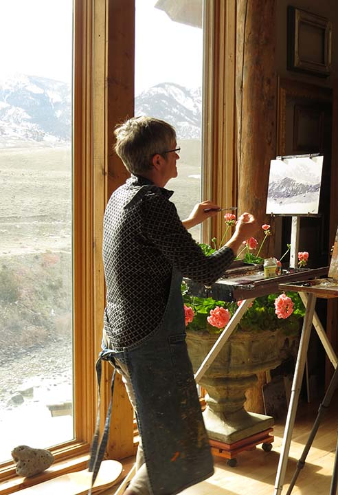 A student working in the studio