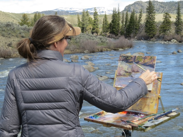 Shirl painting the Lamar River