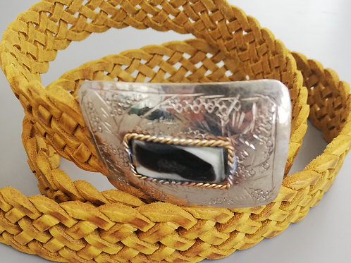 Braided Yellow Leather Belt