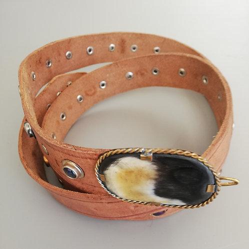 Camel Leather Studded Belt