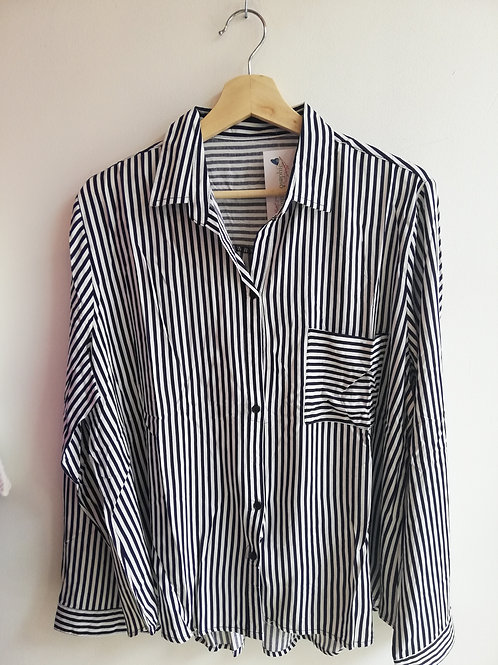 Dark Blue and White Striped Shirt