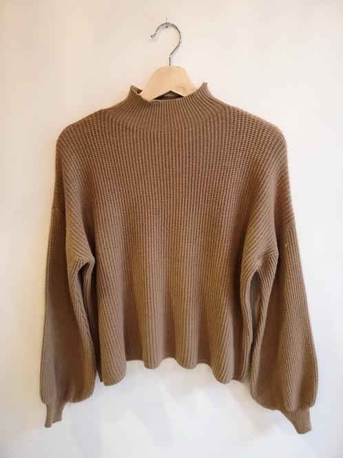Camel Puffy Cuff Knit