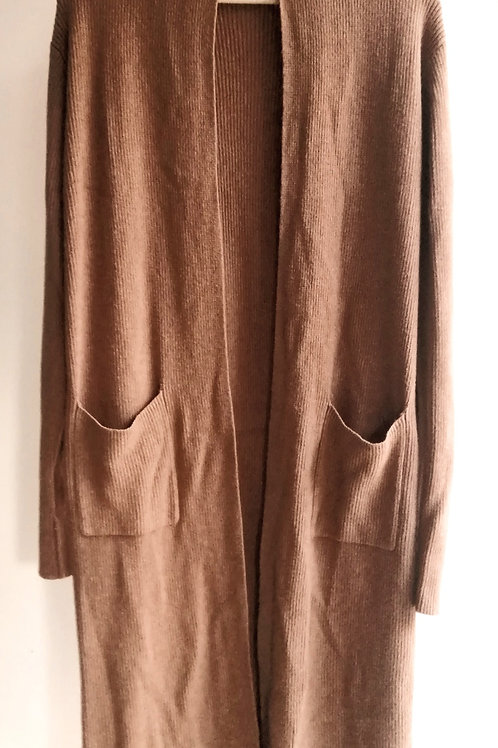 Camel Long Knit Coat