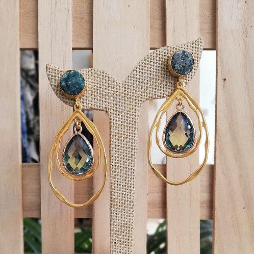 Green 3 Drops Earrings