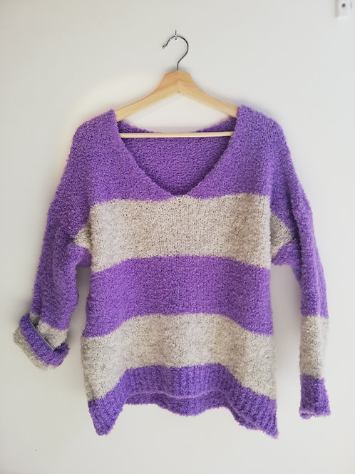 Lavender Wide Stripe Knit