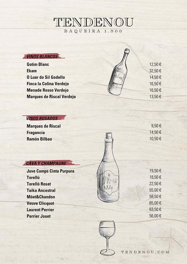 Carta vinos Blancos Rosados Cava y Champ