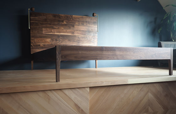 walnut bed, midcentury modern, bedside lamps