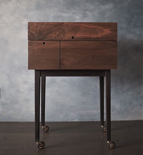 liquor cabinet, liquor cart, walnut,brass