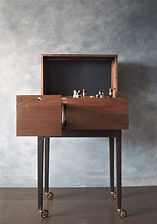 liquor cabinet, liquor cart, walnut,brass