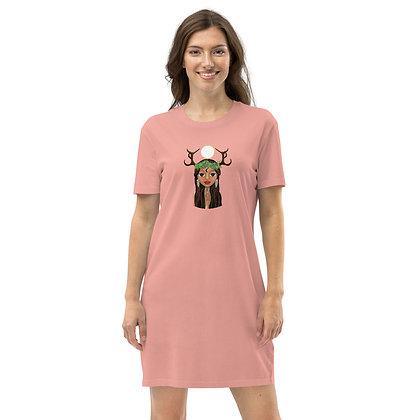 "Robe tee-shirt Coton bio ""Fille de la lune"""