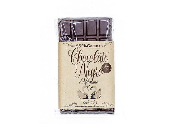 Tableta de chocolate negro SIN AZUCAR 55% cacao 100gr.