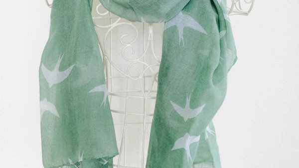 Green Swallow Print Scarf
