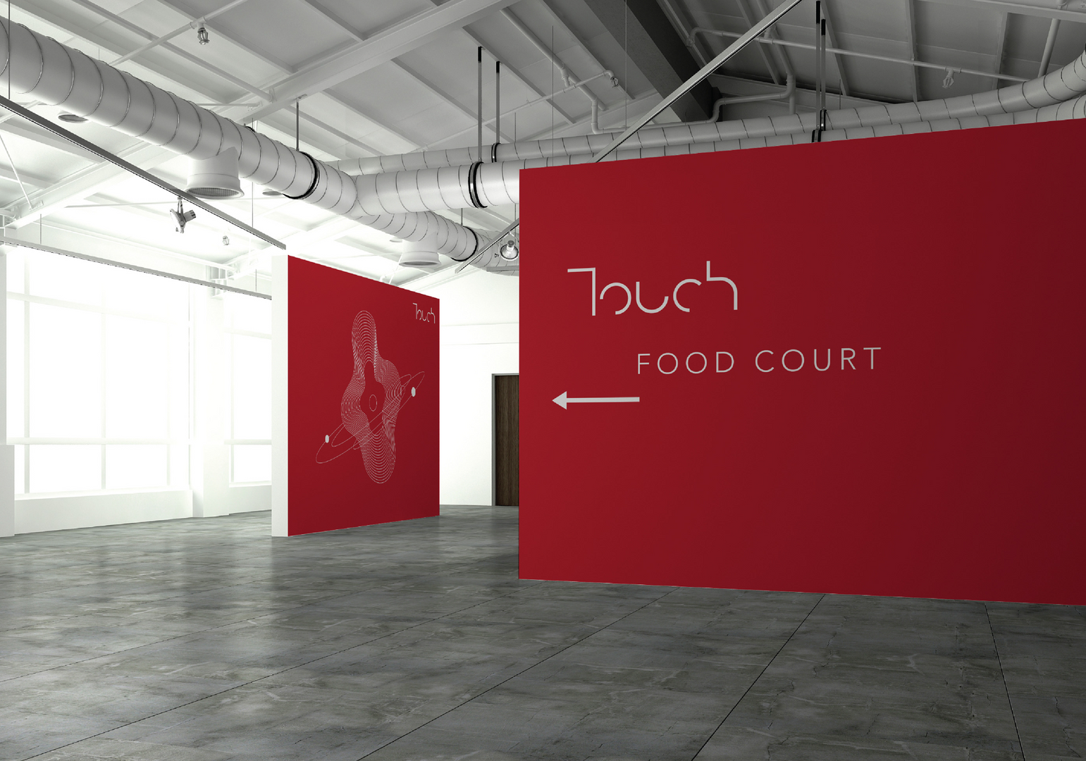 touch venue food court sign