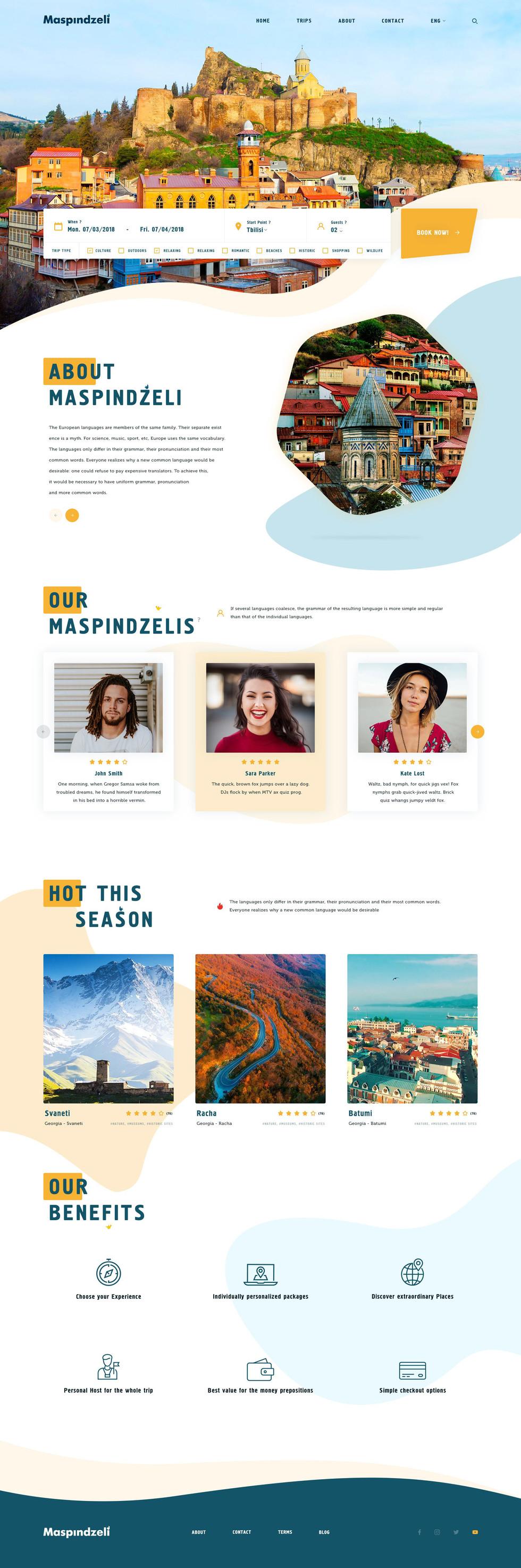 Maspindzeli website design