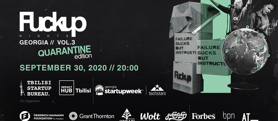 """Share the failure, founder of Gegidze CA at """"Fuckup Nights Tbilisi"""""""