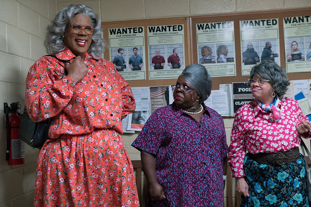 "From L to R: Tyler Perry as ""Madea,"" Cassi Davis as ""Bam"" and Patrice Lovely as ""Hattie"" in Tyler Perry's Boo 2! A Madea Halloween. Photo by Chip Bergmann"