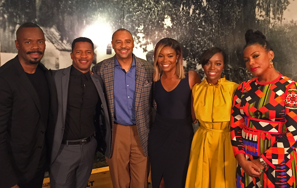 Gordon pictured with Nate Parker and the cast (Gabrielle Union, Colman Domingo, Aja Naomi King and Aunjanue Ellis) from the highly anticipated film Birth of a Nation (COURTESY OF BOUNCE TV)