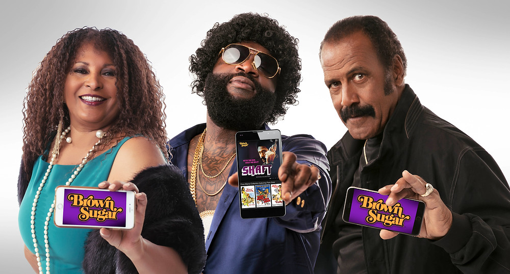 Courtesy of Bounce TV (L to R) Pam Grier, Rick Ross and Fred Williamson