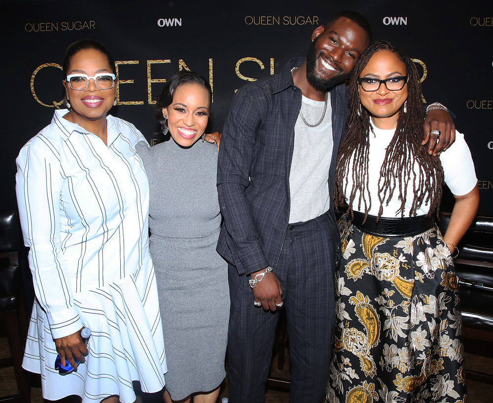 "(Caption L-R:) Oprah Winfrey, Dawn-Lyen Gardner, Kofi Siriboe and Ava DuVernay at ""Queen Sugar"" Press Event at the Four Seasons Beverly Hills on Tuesday, June 6. Photo credit: Courtesy of OWN/ Photographer: Mark Davis - SilverHub"