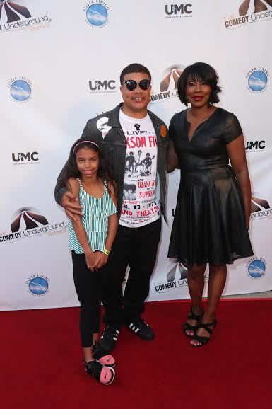 Red Grant & Daughter with The Comedy Underground Series Creator Angela White at the Alex Theater in Glendale, CA for The Comedy Underground Series Season 2 Taping