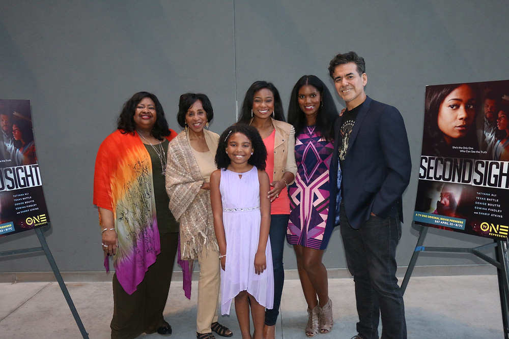 (L to R) Susan A. Banks, Executive Producer/Writer of TV One's Original movie, #SecondSight; Actress, Marla Gibbs; Actress, Jessica Pressley; ACtress, Tatyana Ali; Actress, Denise Boutte and Actor, Jose Yenque. Photo By: Thai Lee