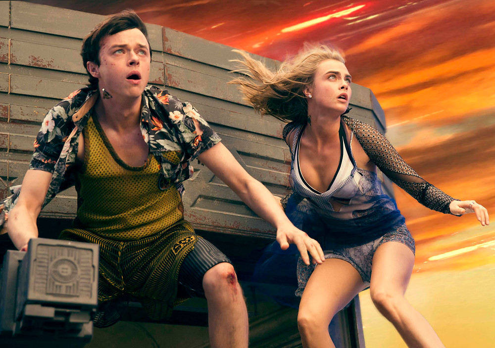 (Left to right.) Dane DeHaan, and Cara Delevingne star in EuropaCorp's Valerian and the City of a Thousand Planets. Photo credit: Vikram Gounassegarin © 2016