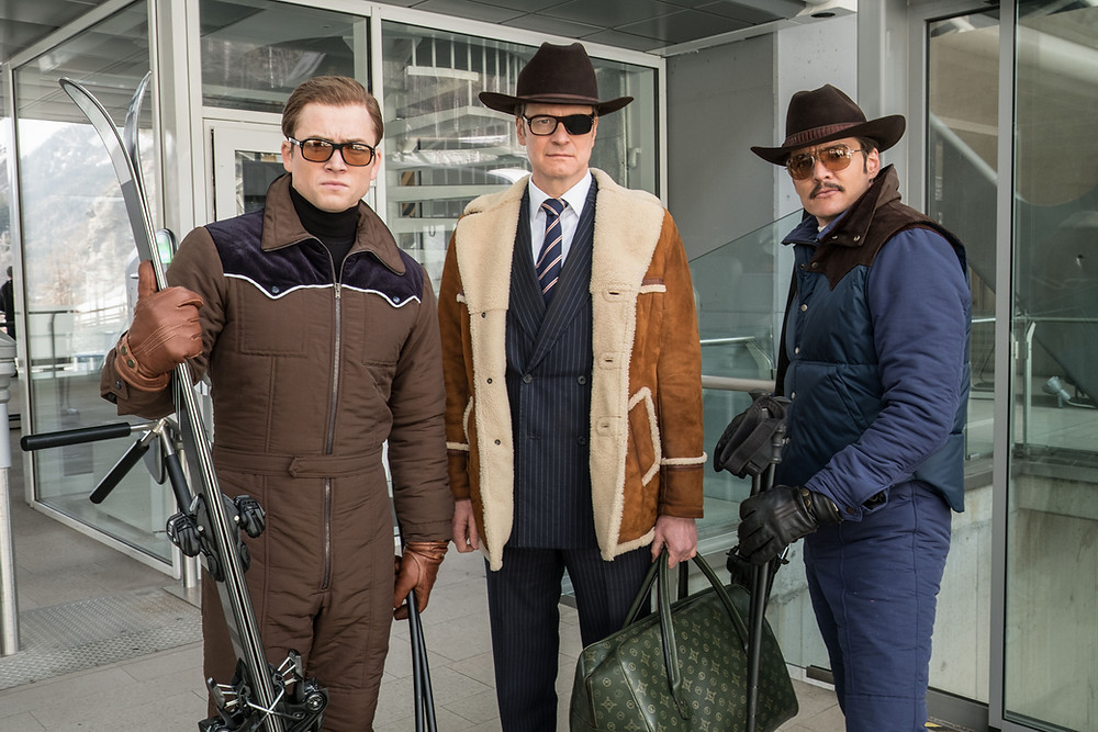 "Taron Egerton, Colin Firth, and Pedro Pascal star in Twentieth Century Fox's ""Kingsman: The Golden Circle,"" Photo Credit: Giles Keyte - TM & © 2017 Twentieth Century Fox Film Corporation. All Rights Reserved. Not for sale or duplication."
