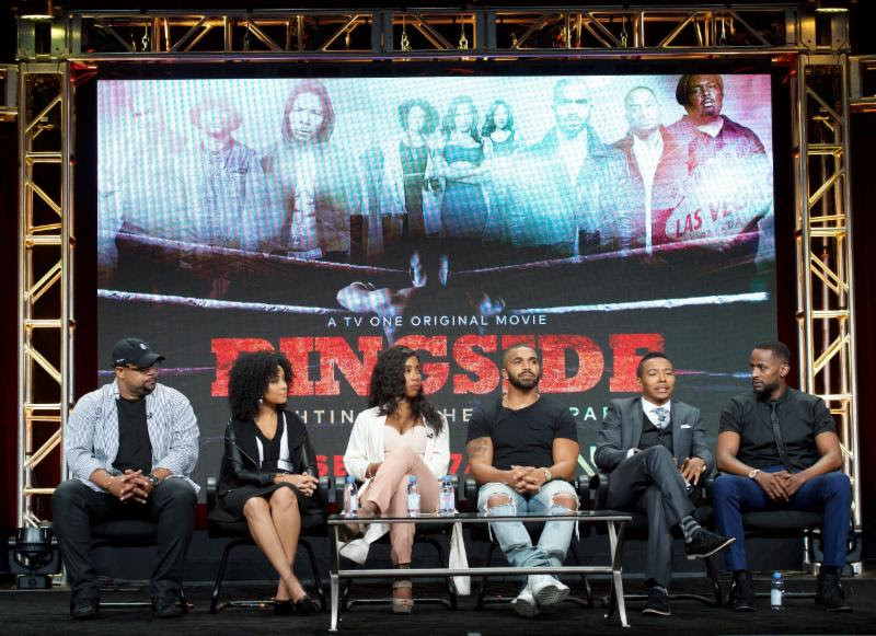 From left to right: Ringside writer and writer Russ Parr and the cast of TV One's Ringside Raney Branch, Sevyn Streeter,  Tyler Lepley, Allen Maldonado and Jackie Long at TV One's  presentation at the 2016 Summer TCA Press Tour   Photo Credit: Earl Gibson III, Courtesy of TV One