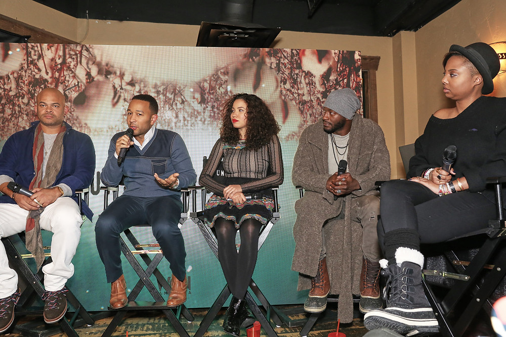 "'Underground' Executive Producer/Director Anthony Hemingway, 'Underground' Producer and Actor John Legend, 'Underground' Stars Jurnee Smollett-Bell and Aldis Hodge and ""Underground"" Co-Creator and Co-Executive Producer Misha Green at ""Underground Clips and Conversation."" (photo credit: Arayna Eison/Arayna Eison Photography)"