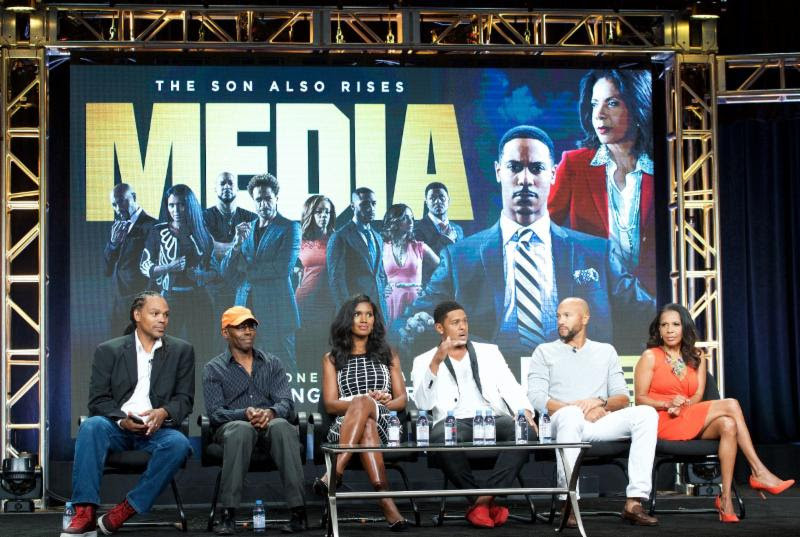 From left to right: Media director Craig Ross Jr., Media writer Kevin Arkadie, and Cast of TV One's Media Denise Boutte, Pooch Hall, Stephen Bishop, and Penny Johnson Jerald at TV One's presentation at the 2016 Summer TCA Press Tour  Photo Credit: Earl Gibson III, Courtesy of TV One