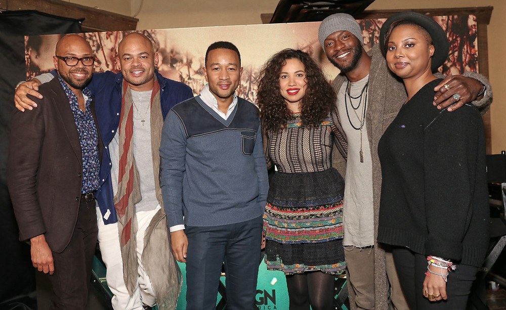 "(pictured from left to right): The Blackhouse Foundation Chairman Brickson Diamond, 'Underground' Executive Producer/Director Anthony Hemingway, 'Underground' Producer and Actor John Legend, 'Underground' Stars Jurnee Smollett-Bell and Aldis Hodge and ""Underground"" Co-Creator and Co-Executive Producer Misha Green at ""Underground Clips and Conversation."" (photo credit: Arayna Eison/Arayna Eison Photography)"