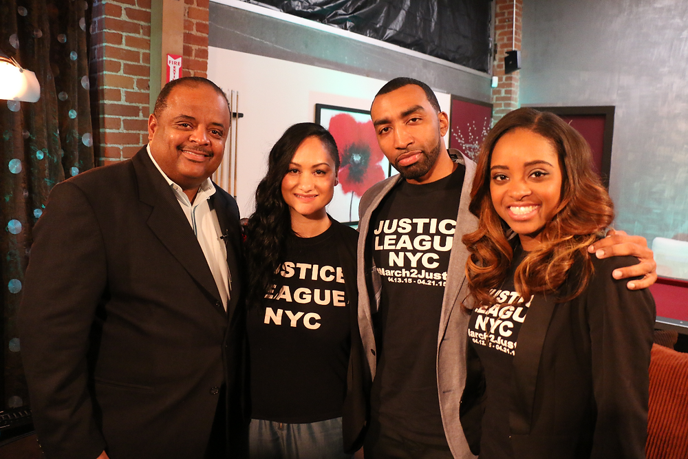 """Roland Martin, Host of TV One's """"News One Now"""" and NY Justice League members; Carmen Perez, Mysonne and Tamika Malloryno. Photo by: Thai Lee/THAheadline"""