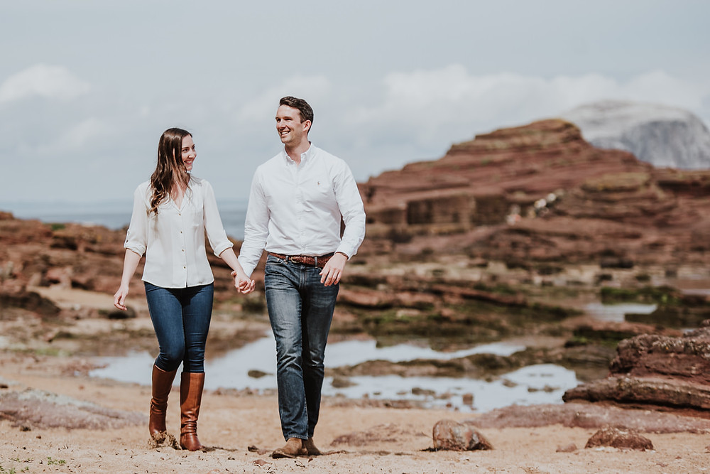 Elle & Iain's engagement session at Seacliff Beach near North Berwick, Scotland