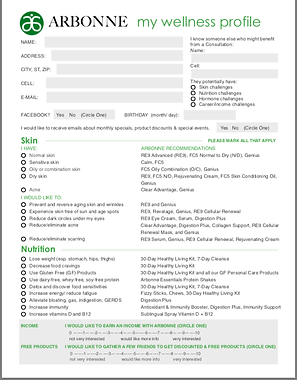Order Form and Wellness Profile