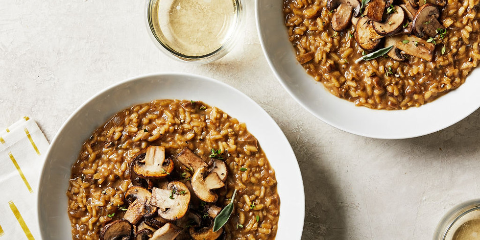 Risotto with Porcini Mushrooms and Pumpkin Soup Meal