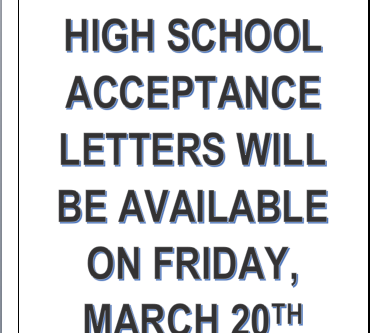 High School Acceptance Information