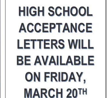 High School Acceptance Information