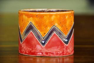 Orange Zig Zag Pot