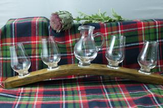 Whisky Barrel Stave Jug and 4 Glasses