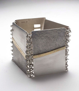 Silver Oxidised Jewellery Box with Silver Links