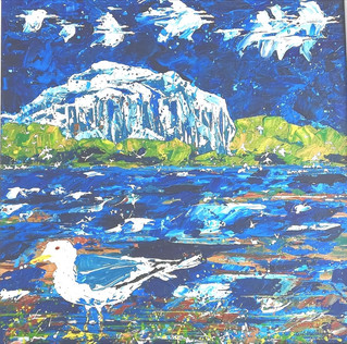 Flyby - Geese Flyby Bass Rock with Gannets and Seagull