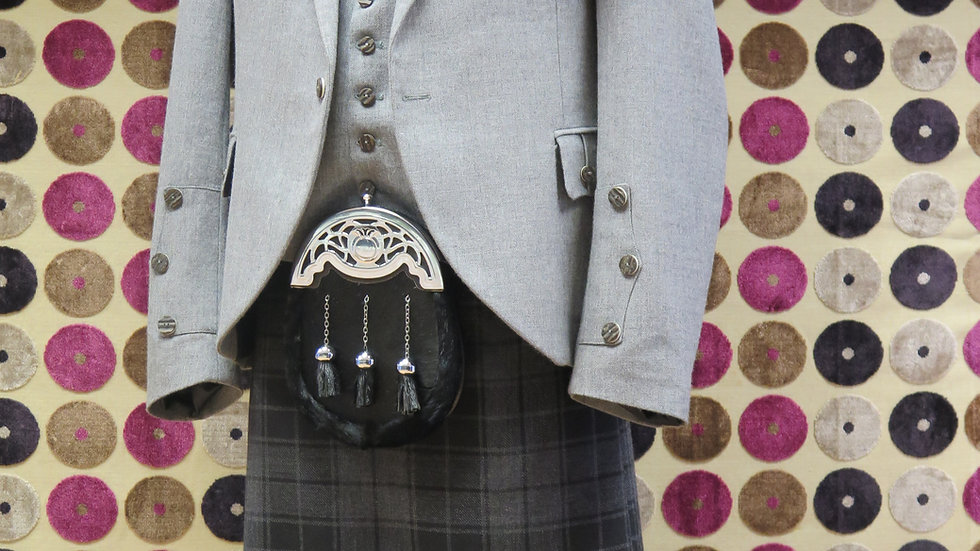 (HIRE) : FULL HIGHLAND DRESS OUTFIT GREY HIGHLANDER