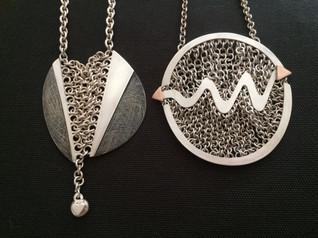 Silver Gold Oxidised Pendants