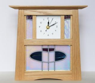 Infinity. Clock in American White Oak with Glass Panel. 18cm x 21cm x9.5cm