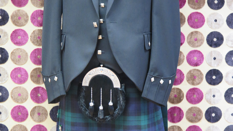 (HIRE) : FULL HIGHLAND DRESS KILT OUTFIT BLACKWATCH TARTAN